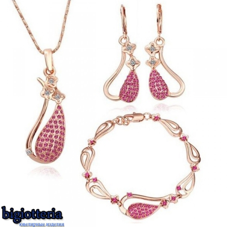 Комплект бижутерии с камнями Swarovski и покрытием золотом 18К