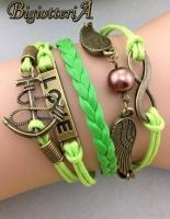 Браслет зелёный LOVE