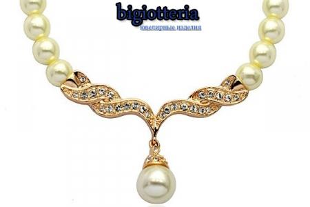 Подвеска, ожерелье с жемчужен инкрустировано камнями Swarovski
