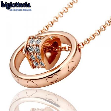 Пдвеска сердце с камнями Swarovski и покрытием золотом